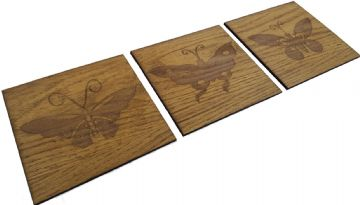 Set of 3 Engraved Wooden Butterfly Plaques - Wall Decor